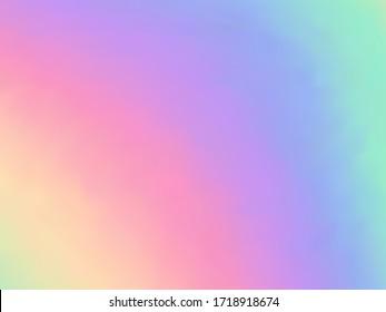 Blurred hologram texture gradient wallpaper. Bright pastel rainbow unicorn background. Liquid colors explosion background. luminous hologram neon glitch texture vector backdrop.