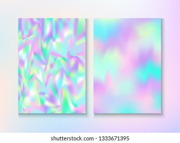 Blurred Invitation, Corporate Identity Vector Texture Set. Fairy Pearlescent Cover, Blank Paper, Teal. Chrome Certificate. Hologram Gradient Overlay. Invitation, Corporate Identity Background.