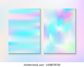 Blurred Invitation, Corporate Identity Vector Texture Set. Graphic Certificate. Fairy Pearlescent Cover, Blank Paper, Teal. Hologram Gradient Overlay. Invitation, Corporate Identity Background.