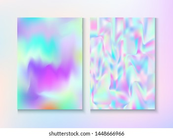 Blurred Invitation, Corporate Identity Vector Texture Set. Holographic Gradient Overlay. Trendy Pearlescent Cover, Blank Paper, Teal. Girlie Wallpaper. Invitation, Corporate Identity Background.