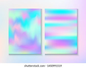 Blurred Invitation, Corporate Identity Vector Texture Set. Tender Template. Fairy Pearlescent Cover, Blank Paper, Teal. Holographic Gradient Overlay. Invitation, Corporate Identity Background.