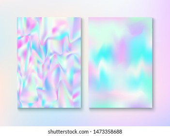 Blurred Invitation, Corporate Identity Vector Texture Set. Holograph Gradient Overlay. Energy Template. Fairy Pearlescent Cover, Blank Paper, Teal. Invitation, Corporate Identity Background.