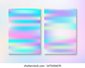 Blurred Invitation, Corporate Identity Vector Texture Set. Girlie Wallpaper. Holographic Gradient Overlay. Unicorn Pearlescent Cover, Blank Paper, Teal. Invitation, Corporate Identity Background.