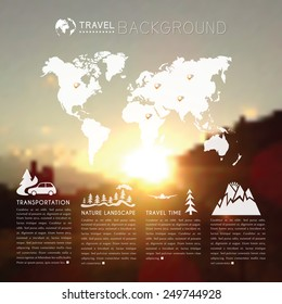 Blurred natural landscape with world map and travel icons. web and mobile interface background. Blurred mountains at sunset. Vector illustration
