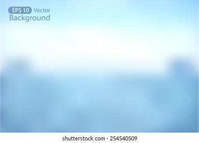 Blurred Nature Background Vector Illustration of Blue sky backdrop
