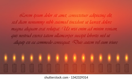 Blurred Red Colors Religion Related Banner with Lighted Candles Placed in a Row and Sample Text. Hand Drawn Candles. Vector Illustration for Religion, Mindfullness and Spiritual Themes.