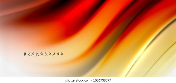 Blurred red and orange fluid colors background, abstract waves lines, mixing colours with light effects on light backdrop. Vector artistic illustration for presentation, app wallpaper, banner or