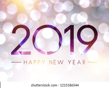 Blurred shiny Happy New Year 2019 poster with bokeh backdrop. Vector background.