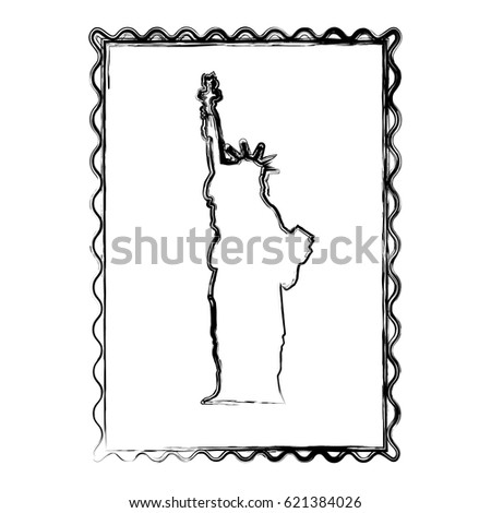 Blurred Silhouette Frame Statue Liberty Vector Stock Vector Royalty