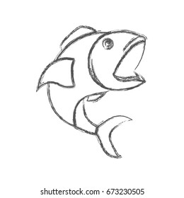 blurred sketch silhouette of open mouth fish vector illustration