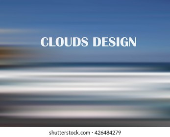 Blurred sky background. Blue and white clouds on blue sky. Vector, design element