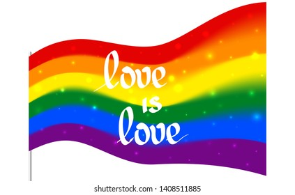 Blurred sparkling rainbow flag - LGBT and LGBTQ pride with the text love is love. Gay lesbian transgender rainbow blurred wave background. Multicolor gay flag for parade, vector