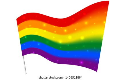 Blurred sparkling rainbow flag - LGBT and LGBTQ pride. Gay lesbian transgender rainbow blurred wave background. Multicolor gay flag for parade, vector