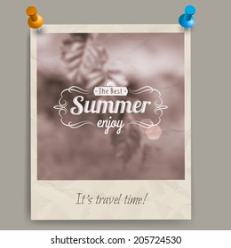 Blurred summer background with fresh birch  leaves out of focus and retro caption, old sepia card or a photo with two pins. You can pin it to a wall or a board.