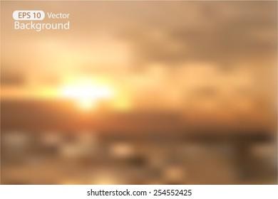 Blurred Sunset Nature Background Vector Illustration, Orange Sky and Sea backdrop