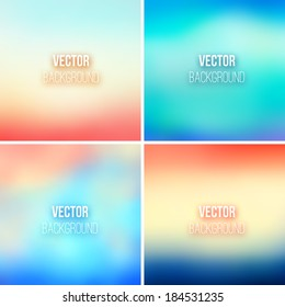 Blurred vector backgrounds collection with blue, red, orange and beige vibrant blended colors. Abstract colorful gradients for screen wallpaper design template