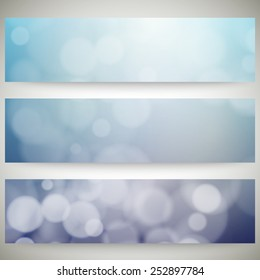 Blurry backgrounds set with bokeh effect. Abstract banners set, template vector.