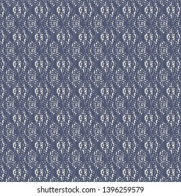 Blurry or dotted pattern with rhomboids and others decorative elements. Sturdy fabric texture.  Upholstery. Blue ornate background. Vector illustration.