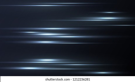 Blurry highlights on a dark background. High-speed abstraction. Shining fine lines. Vector background