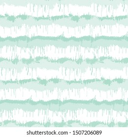 Blurry shibori striped tie dye background. Seamless pattern irregular stripe on bleached resist white background. Neo mint style dip dyed batik textile. Variegated textured trendy fashion swatch