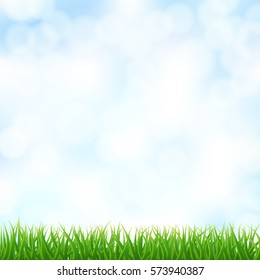 blurry sky background with green grass. vector
