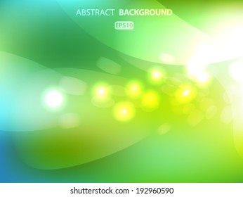 Blurry summer green field and sun with bokeh effect. Vector EPS 10 illustration.