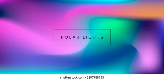 Blurry vector background of polar lights. Holographic shiny colors, blue, yellow, green, purple, pink.