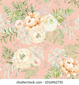 Blush apricot spring bouquets on the pink background. Watercolor vector seamless pattern with delicate flowers. Peony, ranunculus, fern and light green leaves. Romantic illustration.