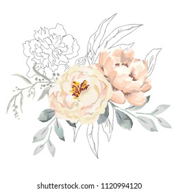 Blush creamy peony flowers and gray leaves with graphic elements. Vector illustration on the white background. Floral bouquet. Design greeting card. Invitation background. Botanical blossom.