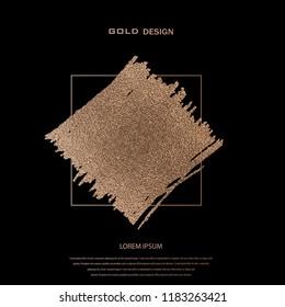 Blush gold. Abstract golden quartz background. Vector illustration. Copper foil. Bronze glitter grunge texture. Patina scratch, cracks golden elements. Vintage illustration.