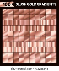 Blush gold gradient set. Vector collection of Copper Golden gradients for design.