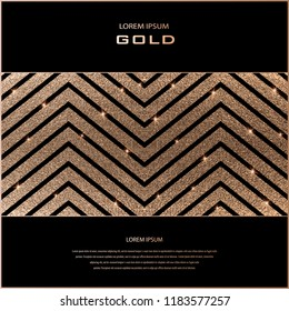 Blush gold pattern. Abstract golden quartz background. Zig zag wavy geometric stripe vector illustration. Copper foil line. Bronze glitter stripes. Geometric pattern. Zigzag gold lines pattern.