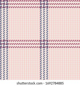 Blush, Ivory, Navy, & Dusty Rose Twill Weave windowpane Plaid Seamless Vector Illustration