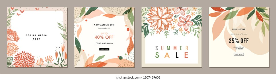 Blush pink abstract square art templates with floral and geometric elements. Suitable for social media posts, mobile apps, banners design and web/internet ads.