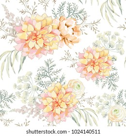 Blush pink bouquets on the white background. Watercolor vector seamless pattern with delicate flowers. Dahlia, peony, ranunculus, fern and gray leaves. Romantic garden illustration.