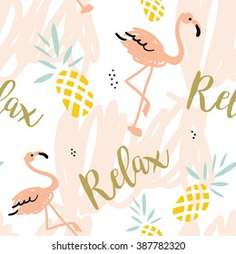 Blush pink flamingo, pineapples and message Relax on a white background with pastel strokes. Vector seamless pattern with tropical bird and fruit.