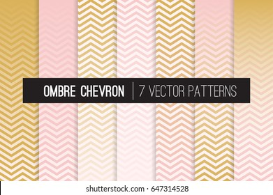 Blush Pink and Gold Ombre Chevron Vector Patterns. Girly Art Deco Style Gradient Fade Zigzag Stripes Texture Blending into Solid Color. Horizontally Seamlessly Repeating Pattern Tile Swatches Included