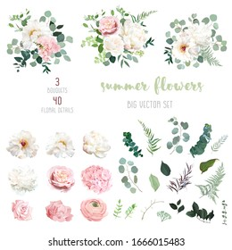 Blush pink rose and sage greenery, ivory peony, hydrangea, ranunculus flowers, eucalyptus big vector collection. Floral pastel watercolor style wedding bouquets. All elements are isolated and editable