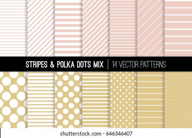 Blush Pink and Soft Gold Polka Dots and Stripes Vector Patterns. Modern Subtle Backgrounds. Various Thickness Diagonal and Horizontal Lines, Tiny and Jumbo Spots. Pattern Tile Swatches Included.