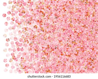 Blush pink spangles confetti scatter vector background. Birthday anniversary greeting card background. Luxury sparkling tinsel particles holiday decoration. Birthday celebration confetti.