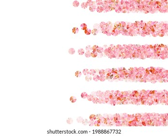 Blush pink tinsels confetti placer vector illustration. Wedding invitation card background. Chic glowing tinsel elements holiday decoration. Romantic bridal confetti texture.