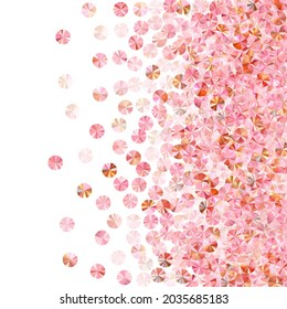 Blush pink tinsels confetti scatter vector illustration. Birthday anniversary greeting card background. Delicate lustering tinsel elements holiday glitter. Birthday celebration confetti.