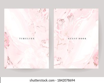 Blush pink watercolor fluid painting vector design cards. Dusty rose and golden marble geode frames. Spring wedding invitations. Petal veil texture. Dye splash style. Alcohol ink.Isolated and editable