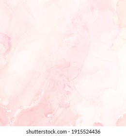 Blush pink watercolor fluid painting vector design background for a card. Dusty rose and white marble geode frame. Spring wedding invitation texture. Dye splash style. Alcohol ink. Isolated and editable