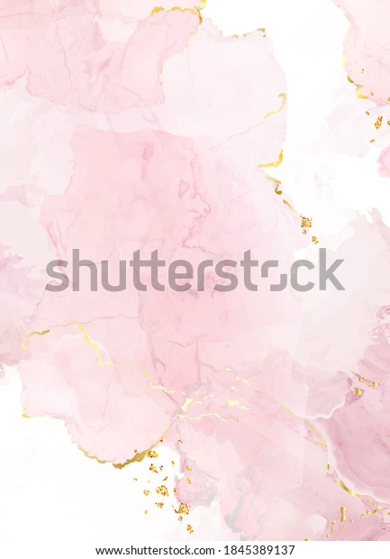 Blush pink watercolor fluid painting vector design card. Dusty rose and golden marble geode frame. Spring wedding invitation. Petal or veil texture. Dye splash style. Alcohol ink.Isolated and editable