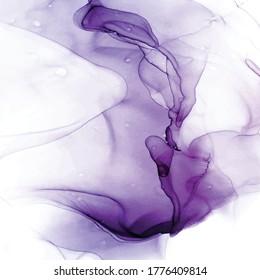 Blush Violet Vector Ink Waves Arwork. Purple Ink Marble Imitation. Vector Violet Delicate Template. Violet Delicate Wedding Card. Fluid Art Background.