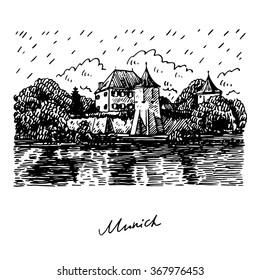 Blutenburg Castle in Munich, Germany. Vector hand drawn sketch.