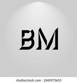 BM Abstract Black Letters with white and gray background in highlight
