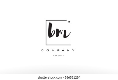 bm b m hand writing written black white alphabet company letter logo square background small lowercase design creative vector icon template