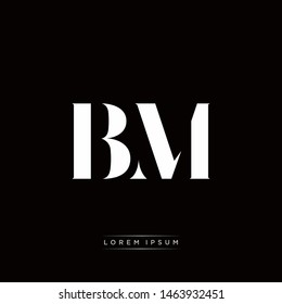 BM B M Logo Monogram with Black and White Colors